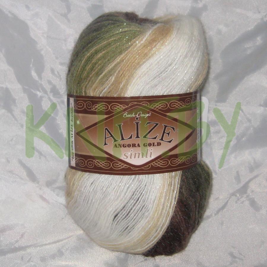 Пряжа Angora Gold BATIK Simli зелено-коричневые оттенки