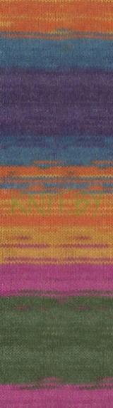 Пряжа Angora Gold BATIK Simli сине-оранжево-зеленые оттенки