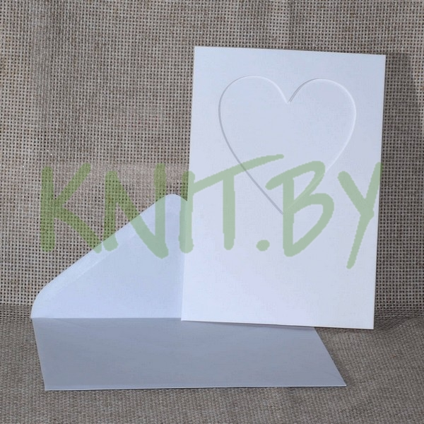 Открытка-паспарту и конверт 140*200 мм, цвет-белый, форма вырубк