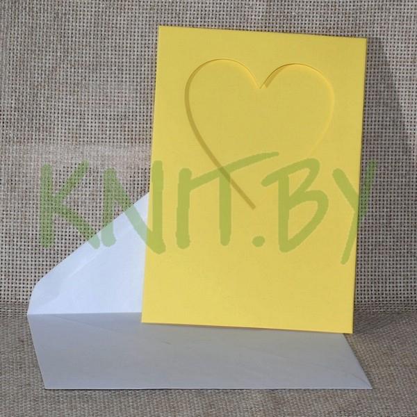 Открытка-паспарту и конверт 140*200 мм, цвет-жёлтый, форма выруб
