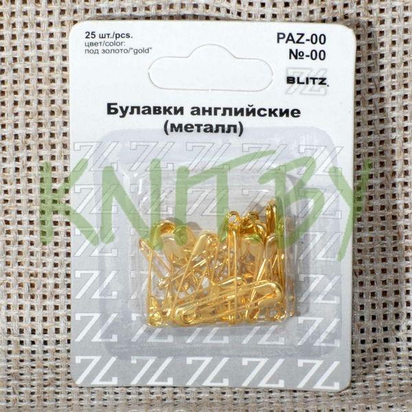 """Булавки английские """"BLITZ"""" под золото в блистере L=22 мм"""