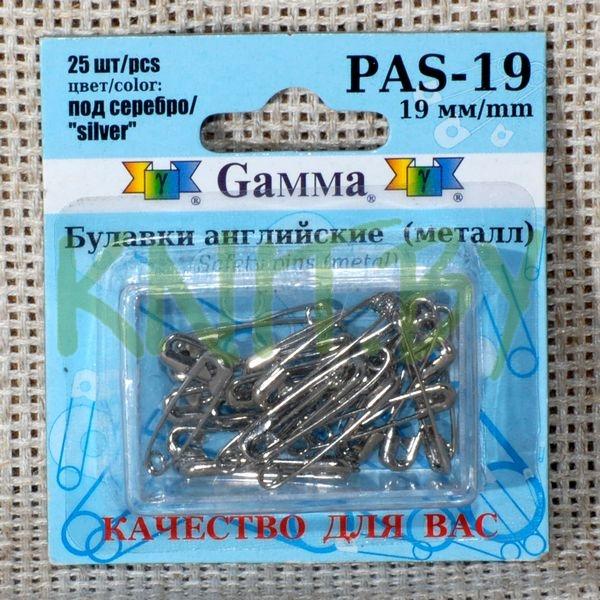 """Булавки английские """"Gamma"""" под серебро в блистере L=19 мм"""