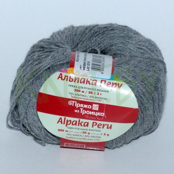 Пряжа Альпака Перу меланж темно-серый