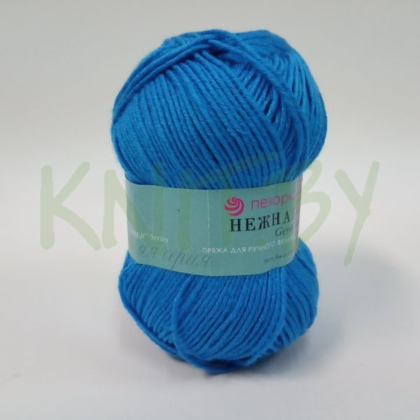 Пряжа Нежная яркий голубой