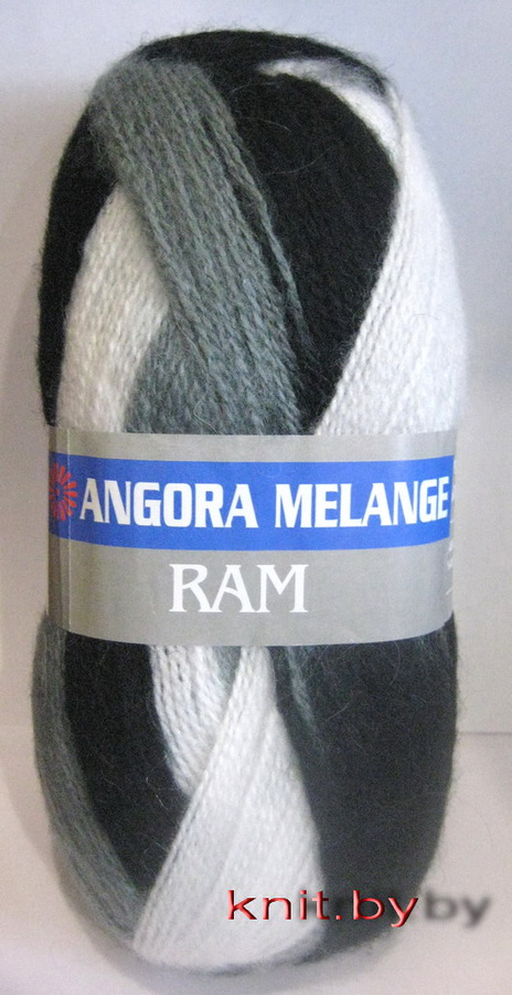 Пряжа Angora Ram Melange чёрно-серые преходы